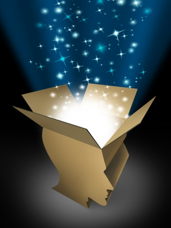Power of the mind and powerful intelligence with an open box in the shape of a human head illuminated with a glowing beaming light bursting with sparkles as a symbol of human creativity and potential