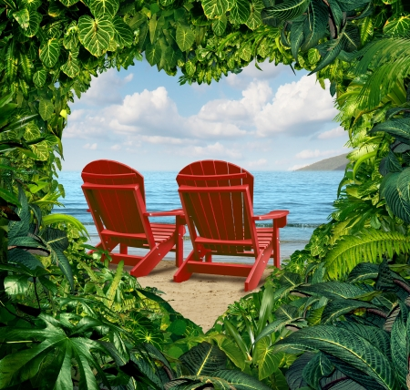 adirondack chair: Romantic getaway and escape to a tropical beach vacation concept with two red adirondack chairs with jungle plants in the shape of a love heart as a travel and traveling symbol for lovers and couples