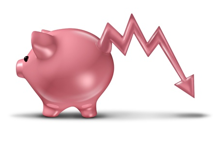 investment risk: Savings loss and losing money with a ceramic piggy bank with the tail in the shape of a business stock market graph arrow that is going down as a financial concept of investment risk on a white background Stock Photo