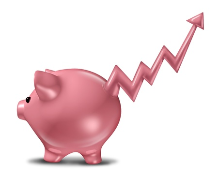 Savings profits as a ceramic piggy bank with the tail in the shape of a stock market business graph with an upward arrow representing financial success and profitable finance strategy  Stock Photo - 17811885