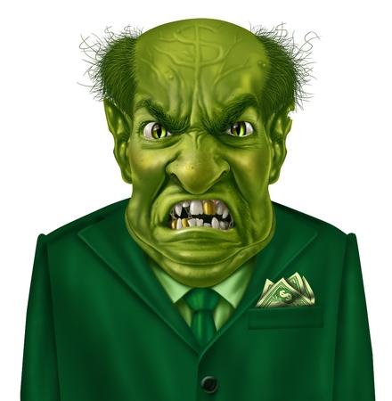 egoista: Codicia ego�sta como un personaje de negocio verde del jefe con un juego y un signo de d�lar en la frente que representa el concepto de ego�smo y codicia comportamiento financiero