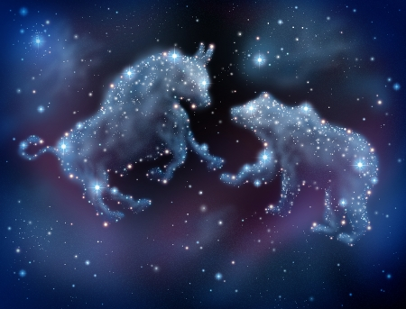 predictions: Stock market forecasting and investment predictions with financial icons of a bull and bear made of shinning constellation stars on a night sky in space as a business concept of investing ideas  Stock Photo