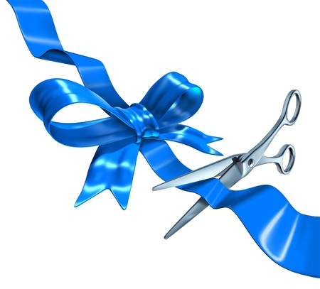 Blue ribbon cutting business concept with a three dimensional silk bow being cut by metal scissors as a symbol of launching and unveiling an important announcement or celebrating success