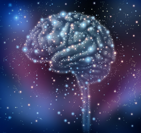 Brain intelligence discovery with a human brain shape made of stars and planets in a space beckground as a neurological health concept for research and solutions  Stock Photo - 17997208