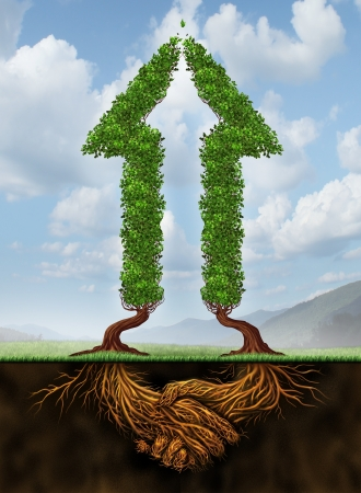 collaborating: Collaborating for growth as a business agreement and cooperation concept in financial success between a group of partners working together as a concept of two arrow shaped trees with roots in the form of a hand shake  Stock Photo