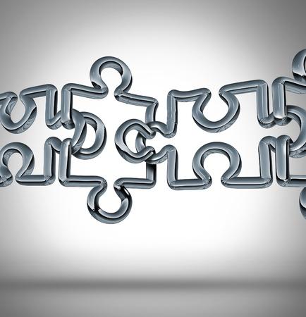 сеть: Мостовое соединение и преодоление разрыва в деловом сотрудничестве, как понятие с группой трехмерные металлические цепи связей, в сети в виде головоломки соединены вместе для формирования сильной финансовой команде Фото со стока