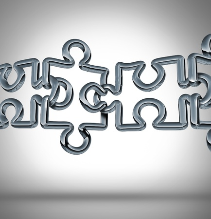 연결 다리와 강력한 금융 팀을 형성하기 위해 함께 연결 퍼즐 조각으로 모양의 네트워크의 세 가지 차원 금속 체인 링크의 그룹을 컨셉으로 비즈니스 협력의 격차를 스톡 콘텐츠 - 17997203