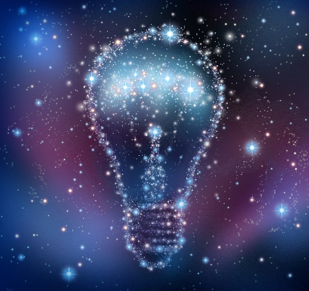 Creative inspiration and imagination of new ideas as a night sky with a group of stars and planets as a bright space constellation in the shape of a shining light bulb  Stock Photo - 17997215