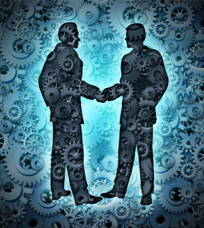 technology deal: Industry agreement with two business men shaking hands on a background of a group of three dimensional gears and cogs working together in partnership for a strong cooperation