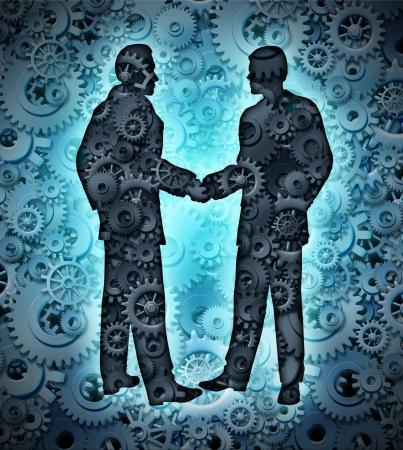 zusammenarbeit: Industry Vereinbarung mit zwei Gesch�ftsleute H�ndesch�tteln auf einem Hintergrund von einer Gruppe von dreidimensionalen Getriebe und Zahnr�der partnerschaftliche Zusammenarbeit f�r eine enge Zusammenarbeit