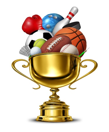 Sports gold cup winner trophy with a blank metal base on a white background as a group activity success concept for winning and being first and the best in a team or individual sport competition championship Stock Photo - 17997206