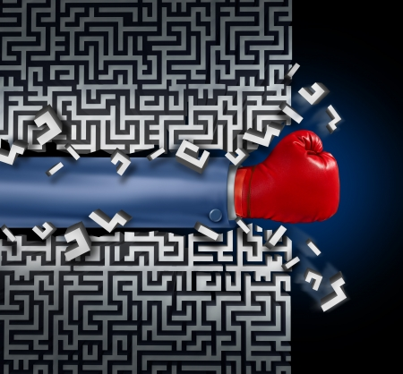 Breaking out leadership and business vision with strategy in corporate challenges and obstacles in a maze with a business man arm with a red boxing glove clearing a path in a labyrinth with a clear solution shortcut for success