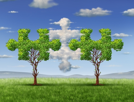 Business connections with the cloud as a network technology and business concept as clouds in the shape of a puzzle piece and a tree shaped as jigsaw game objects coming together as a group of connected  team partners for financial success Stock Photo - 18122902