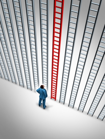 Business success choice with a career person tanding in front of a group of ladders with the red one as the best choice for financial wealth on a white background Stock Photo - 18122545