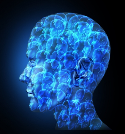 Group organization with a business team of partners working together as one unit for financial success as one large human head made of smaller faces on a black background Stock Photo - 18122530