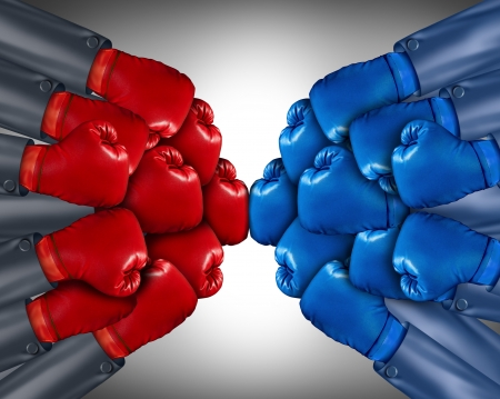 Group competition ready for a biusiness fight with a network of corporate people wearing red and blue boxing gloves competing together in the open market using strategy and planning to win