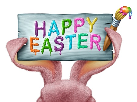 Happy Easter painted on a wood sign with a paint brush and being held by pink rabbit ears with detailed textured realistic fur as a fun spring symbol of holiday celebration isolated on a white background  photo