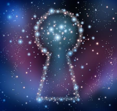imaginacion: Inspiraci�n clave y la b�squeda de respuestas o soluciones en una lluvia de ideas concepto como un cielo nocturno con un grupo de estrellas y planetas como una constelaci�n espacio luminoso en forma de un ojo de cerradura Foto de archivo