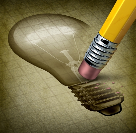erase: Lost creativity and running out of inspiration for new ideas as writer Stock Photo