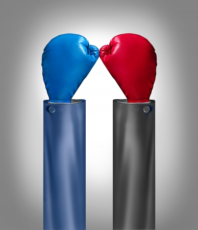 get together: Team up as business rivals get together to join forces for success with two opposong boxing gloves merging as one unit in solidarity to form an upward arrow shape as a group meeting with strength  Stock Photo