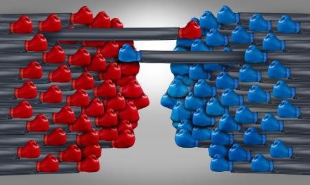 conflicto: Negocios competencia de grupos con un equipo de gente de negocios usando guantes de boxeo rojos y una asociaci�n rival compitiendo con la lucha contra el azul entre s� por la supremac�a y el �xito financiero