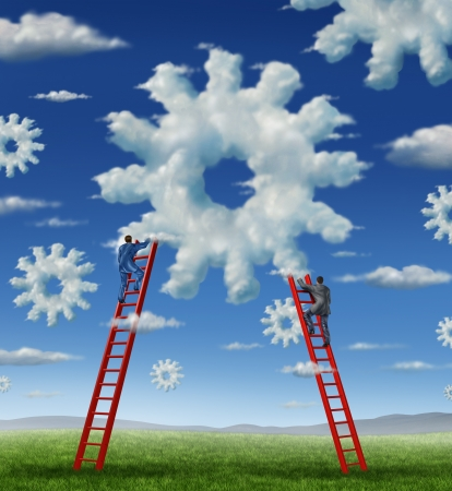 it technology: Cloud management business with a group of business people climbing red ladders to work on clouds shaped as a gear or cogs as a concept of a working team partnership with technology businessmen