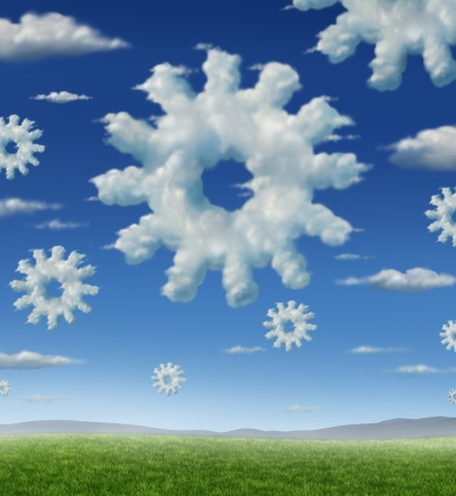Cloud technology and wireless storage business concept as a group of clouds in the shape of a gear or cogs on ablue summer sky coming together as partners for information management success