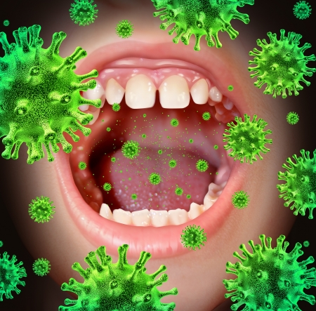 Contagious disease transmiting a virus infection with an open human mouth spreading dangerous infectious germs and bacteria while coughing during a cold or flu symptoms