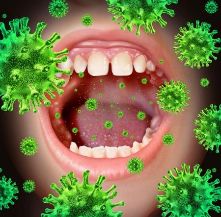 Enfermedad contagiosa transmitiendo una infección de virus con la boca abierta humano difusión peligrosos gérmenes y bacterias infecciosas al toser durante un resfriado o síntomas de gripe