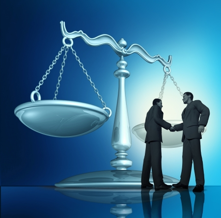business law: Contract agreement with a group of two businessmen shaking hands in a legal partnership with a scale of justice in the background as a concept of teamwork in business  Stock Photo