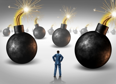 Dangerous challenge as a businessman conquering adversity as he decides on choices he faces as a concept of walking through a minefield as hazardous bombs with burning fuses ready to explode  Stock Photo - 18283494