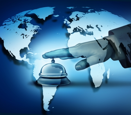 Global hotel service concept with a human hand ringing a bell on a blue world map background as a hotel symbol of first class international hospitality service  Stok Fotoğraf