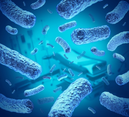 e  coli: Hospital germs as bacteria and bacterium cells floating in microscopic space as a medical concept of bacterial disease infection in a medical facility or Doctor examination office