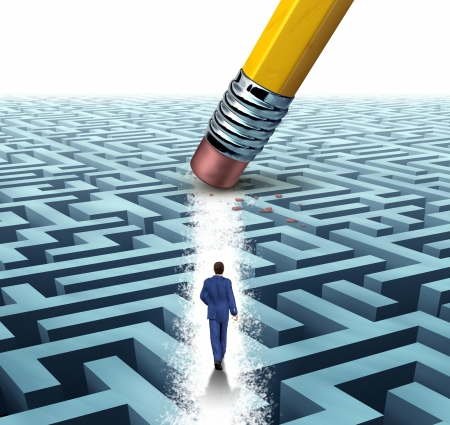 solve problems: Leadership Solutions with a businessman walking through a complicated maze opened up by a pencil eraser as a business concept of innovative thinking for financial success  Stock Photo