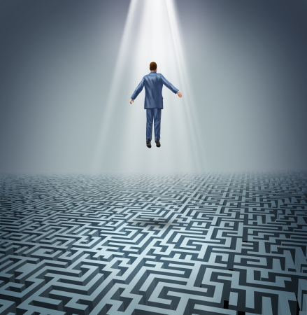 levitate: Powerful solutions with a businessman levitating above a maze or labyrinth as a business concept of leadership and conquering challenges and obstacles with a man rising above to find the answers