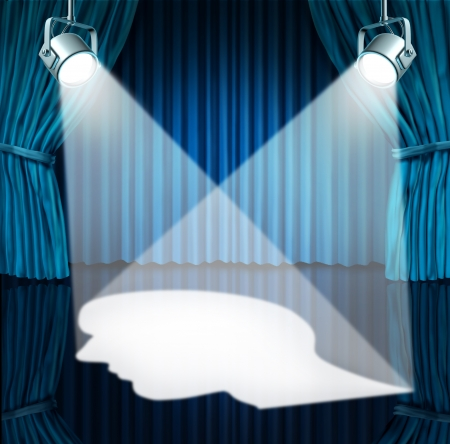 Spotlight on the brain with lights shinning a human head shaped profile on a stage with blue velvet curtains  as a mental health concept for cognitive disorders as autism or Asperger