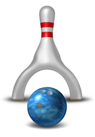 Avoid risk and managing danger with a bowling pin shaped into an open arch as to not get hit by the ball as a business concept of insurance and financial security on a white background  Stock Photo - 18410788
