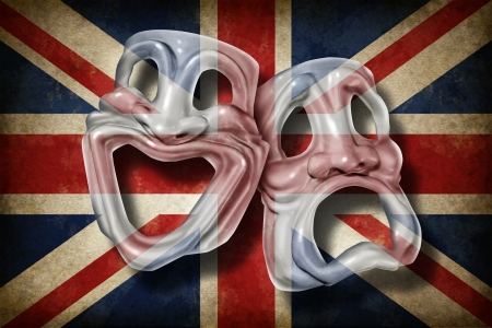 comedy tragedy: British theatre and English performing arts concept with an old flag of Britain on a comedy and tragedy mask representing the rich cultural tradition of classical cinema and movie making in England