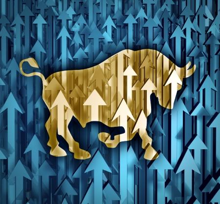 Bull concetto di business del mercato con un gruppo di frecce organizzati che vanno in su come la fiducia degli investitori nella compravendita di azioni predire prezzo futuro increasesas un simbolo finanziario di utili Archivio Fotografico - 18410792