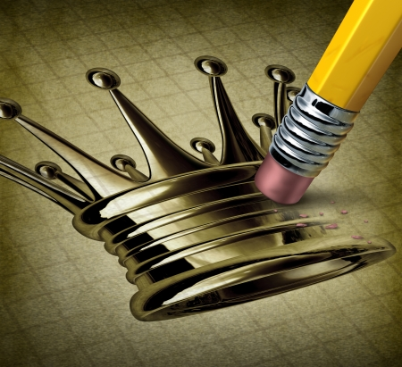 failed strategy: Failed leader and the stress of lost leadership position due to a lack of business strategy and failure to innovate and compete with an image of a metal crown being erased by a pencil on a grunge texture