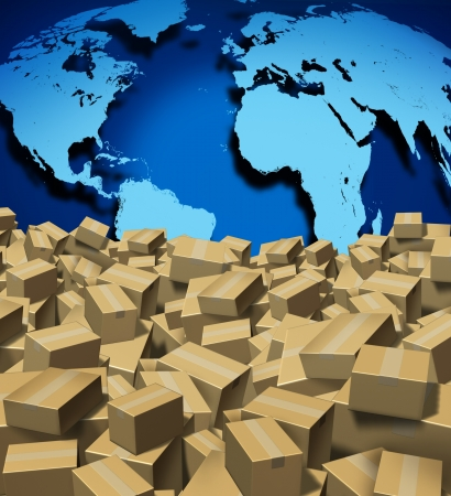 Global Shipping and cargo concept as a worldwide trade and delivery transport courier service with a world map from internet sales with a group of shipped cardboard boxes  Stock Photo