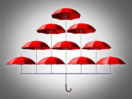smaller: Group protection security concept with an umbrella made of multiple smaller red umbrellas connected together in a network as a symbol to protect a community of members  Stock Photo
