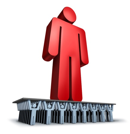 crowd sourcing: Group Support business concept with a giant red leader person being lifted and moved forward in solidarity by a loyal team of cooperating individuals for a strong organization