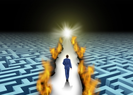 breaking free: Innovative leadership and trail blazing or trailblazing business concept with a businessman walking through a maze or labyrinth that is open due to a burning path as a symbol of creative solutions