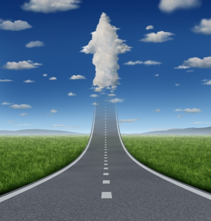 No limits success concept with a road or highway going forward fading into the sky with a group of clouds shaped as an upward arrow as a business symbol of financial freedom and aspirations  Stock Photo
