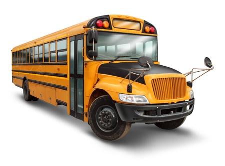 montacargas: School bus para el servicio de transporte estudiantil para estudiantes de primaria y secundaria con un veh�culo pintado de amarillo y negro como s�mbolo de la educaci�n de transporte seguros a los ni�os en un fondo blanco Foto de archivo