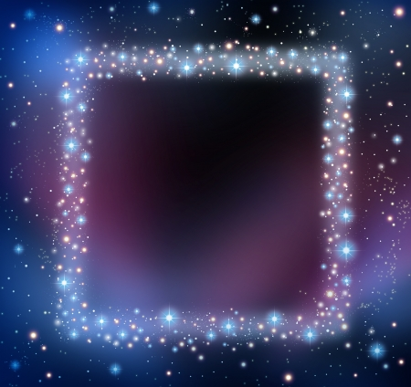 Space blank frame as a night sky with a group of stars and planets as a shinning cosmic constellation with empty copy area for text as an astrology or astronomy communication concept
