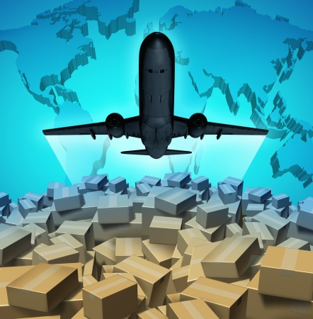 international internet: Air cargo shipping concept with an airplane flying above a large group of mail courier packages on a three dimensional map of the world as a global overseas transportation symbol  Stock Photo