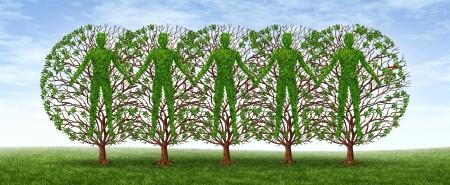 ressources humaines: Communaut� et le concept d'amiti� avec un groupe d'arbres en forme de personnes se tenant la main ensemble dans l'harmonie d'un partenariat de plus en plus une forte coop�ration sur un ciel bleu