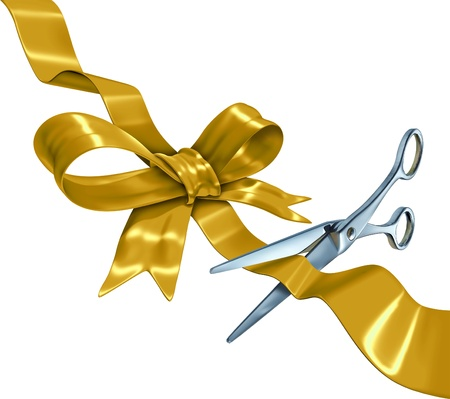 Gold ribbon with bow cutting with a golden silk gift wrapping decoration with scissors opening the packaging as a holiday symbol for celebration or birthday or special event isolated on a white background